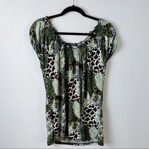 Carol Rose Printed Polyester Spandex Blouse Top XL